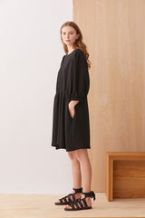 NZ Fashion Clothing Boutique gregorythelabel Gregory AW19 Irving Dress Black Made in NZ