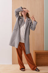NZ Fashion Clothing Boutique gregorythelabel Gregory AW19 LaLa Coat Grey Made in NZ