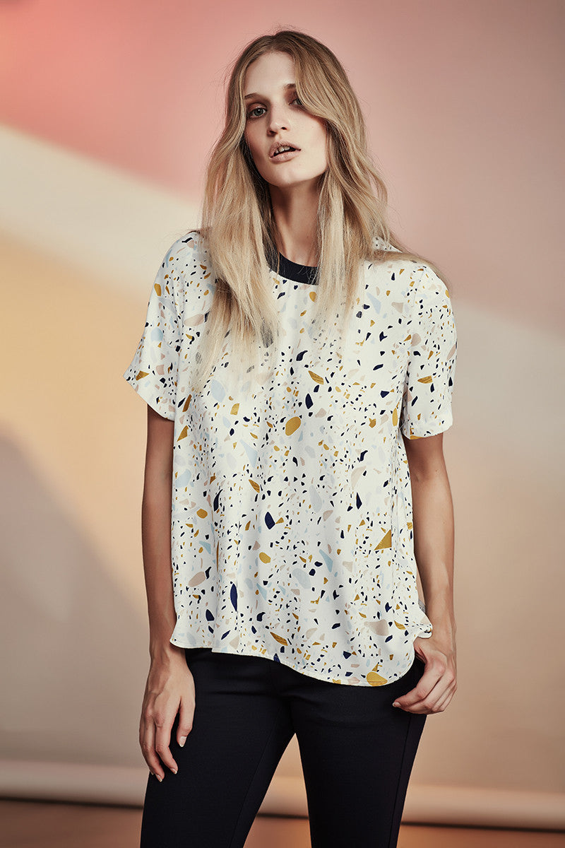 NZ Fashion gregorythelabel SS16/17 Exclusive Terrazzo Print Top Rib Neckband Made in New Zealand