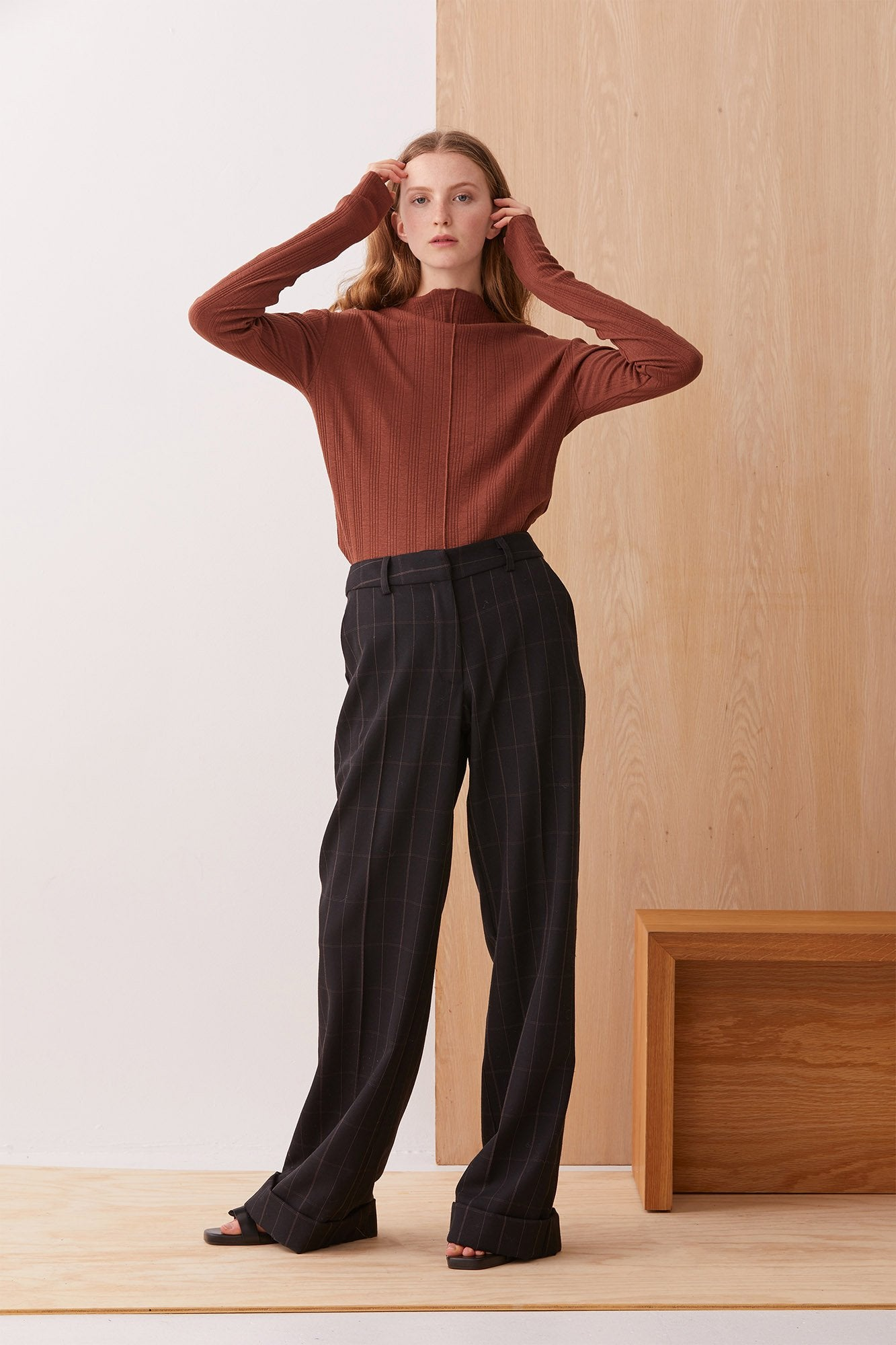 NZ Fashion Clothing Boutique gregorythelabel Gregory AW19 Long Sleeve Milena Top Cinnamon Made in NZ