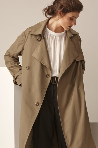 NZ Fashion Clothing Boutique gregorythelabel Gregory AW18 Marcella Trench  Coat Japanese Cotton Made in NZ 04e45d51d9