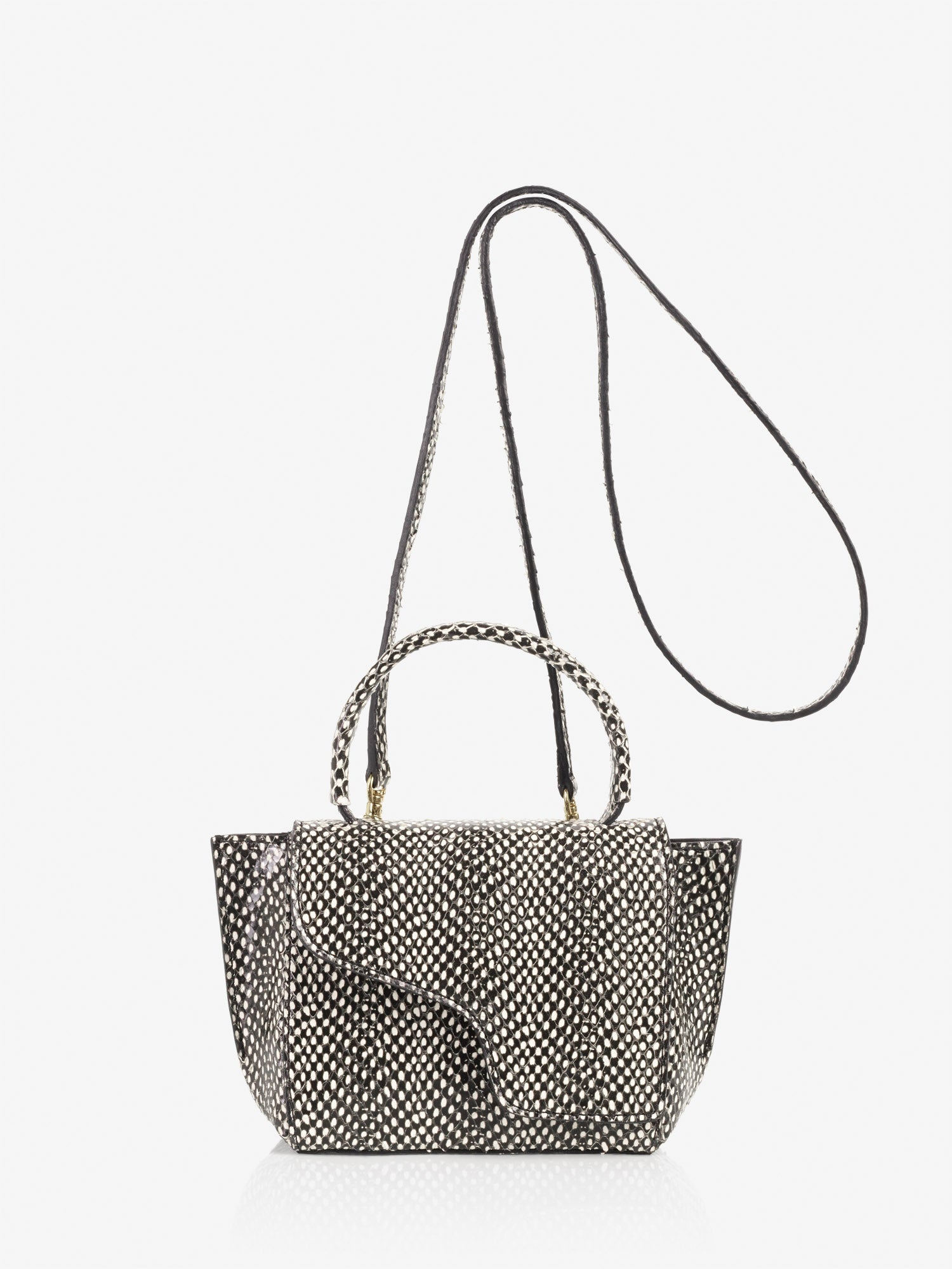 ATP Atelier Montalcino Black White Dot Printed Snake Mini Bag