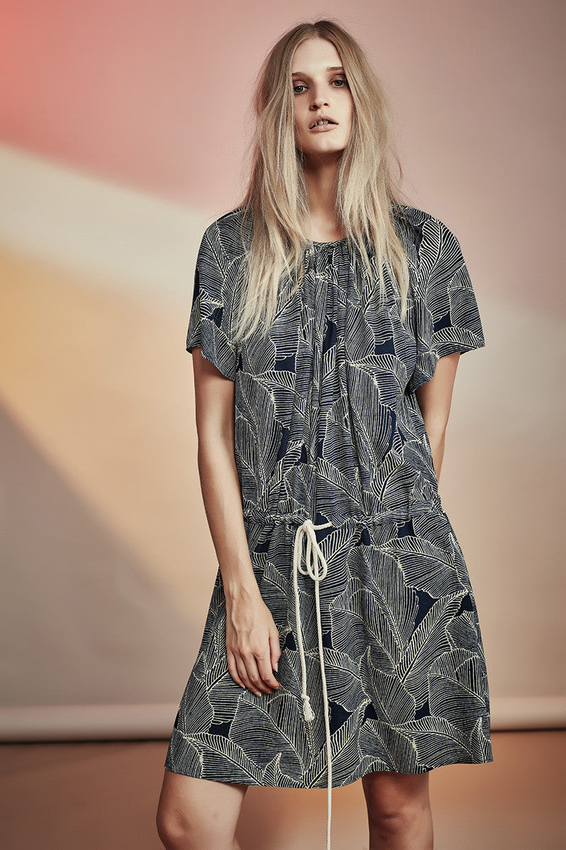 Ohio Dress Gregory NZ Fashion gregorythelabel SS16/17 Printed Drawstring Dress Made in New Zealand