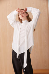 NZ Fashion Clothing Boutique gregorythelabel Gregory AW19 Penenlope Top White Silk Made in NZ