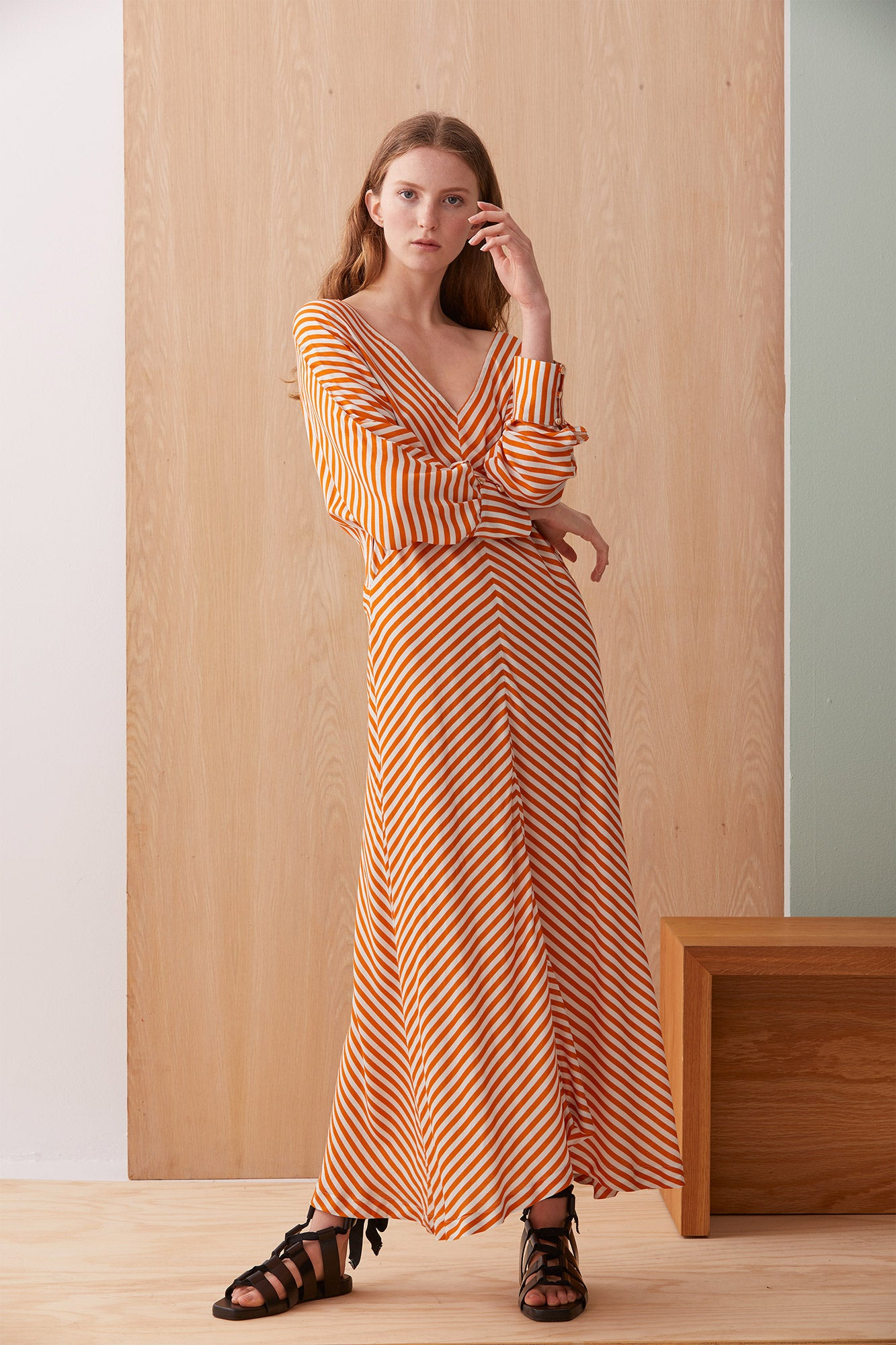 NZ Fashion Clothing Boutique gregorythelabel Gregory AW19 Piera Dress Mandarin Stripe Made in NZ