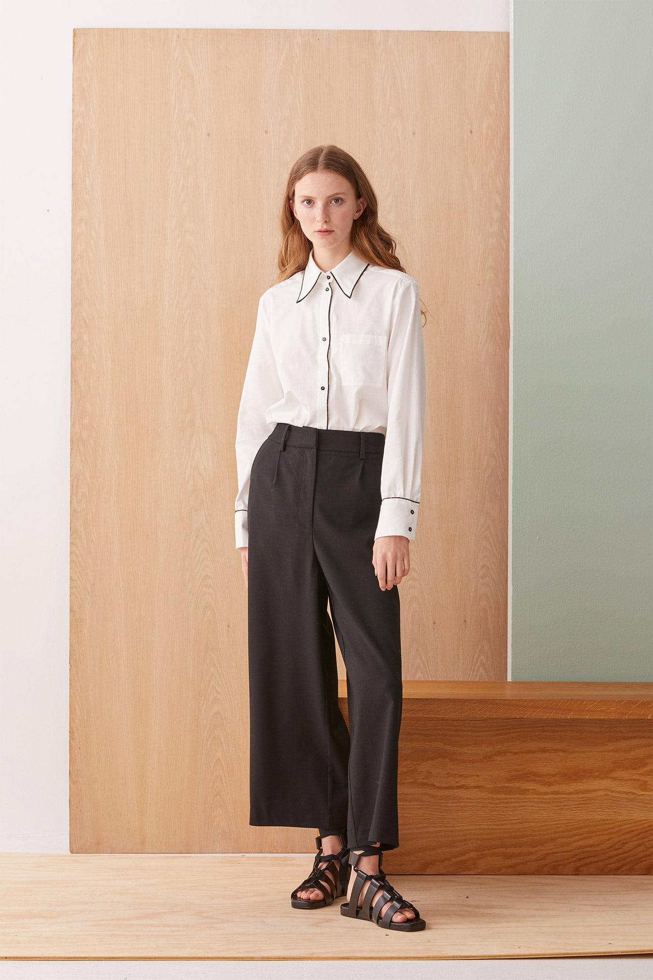 NZ Fashion Clothing Boutique gregorythelabel Gregory AW19 Portia Shirt Chalk Made in NZ