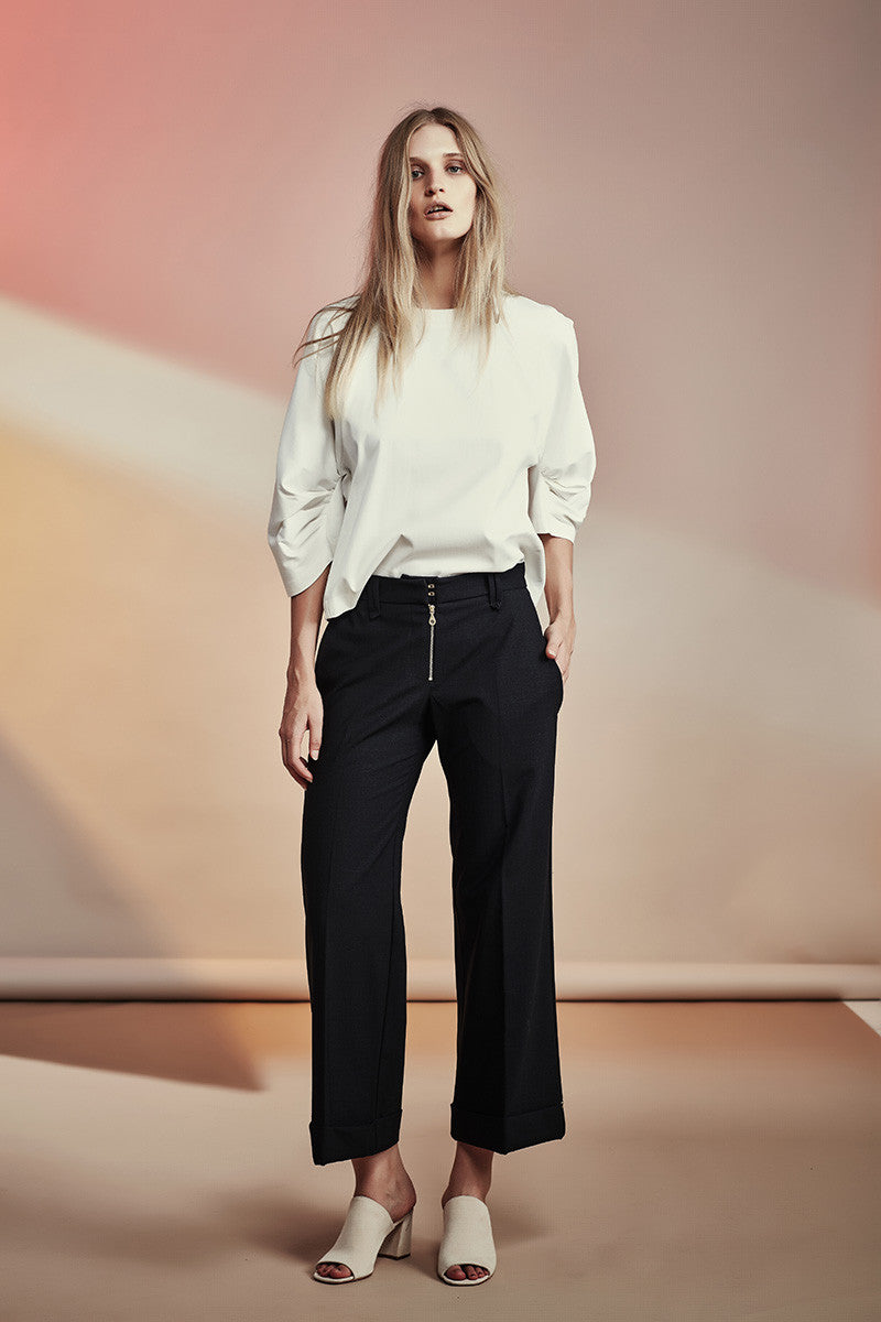NZ Fashion gregorythelabel SS16/17 Classic Wool Tailored Pants Gold Exposed Riri Zip Cuff Ethical Fashion Made in New Zealand