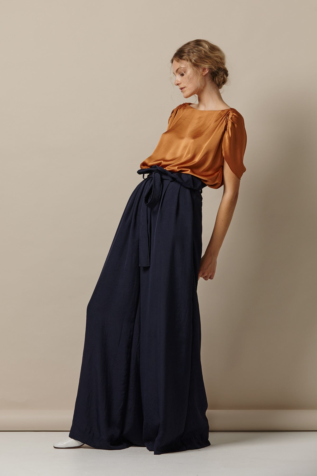 NZ Fashion Clothing Boutique gregorythelabel SS17 Amalie Top Japanese Satin Burnt Caramel Gather Detail Shoulder Made in NZ