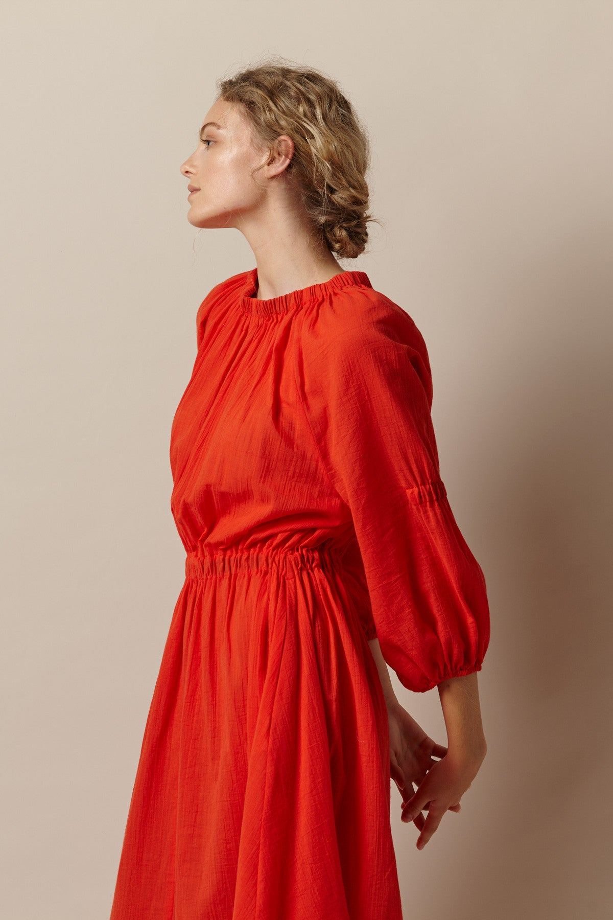 NZ Fashion Clothing Boutique gregorythelabel SS17 Freska Dress Japanese Cotton Voile Washer Finish Vermillion Gather Neck Dress Made in NZ
