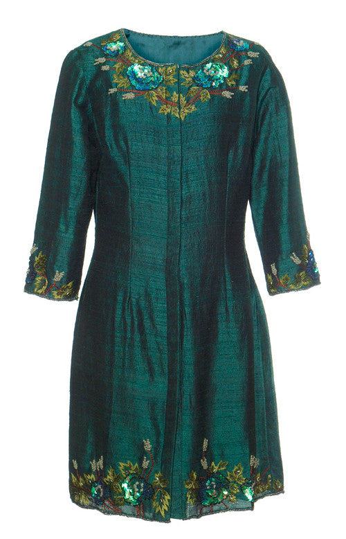 Silk Embroidered Coat-Forest Green