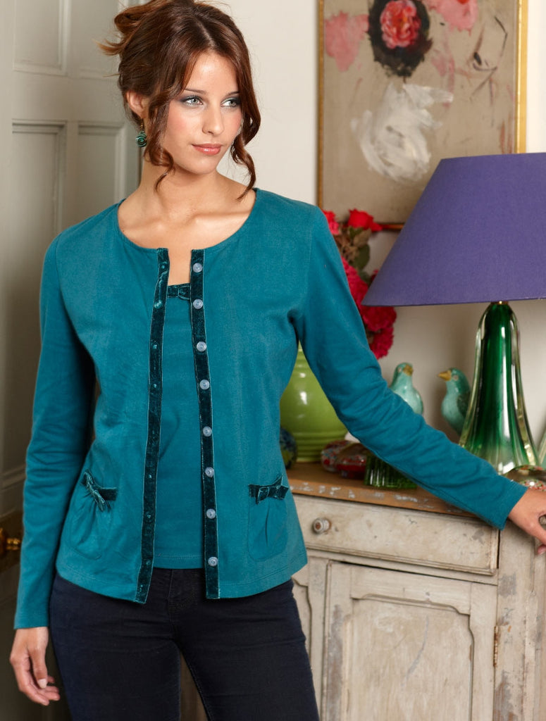 Cotton & Velvet Cardigan-Teal