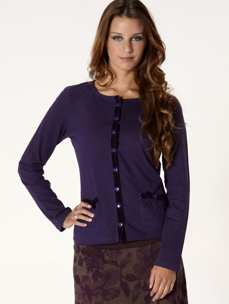 Cotton & Velvet Cardigan-Purple