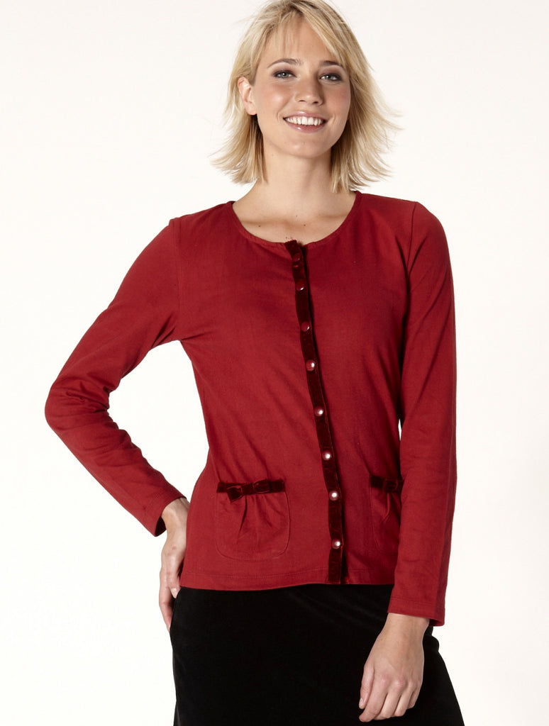 Cotton & Velvet Cardigan-Red