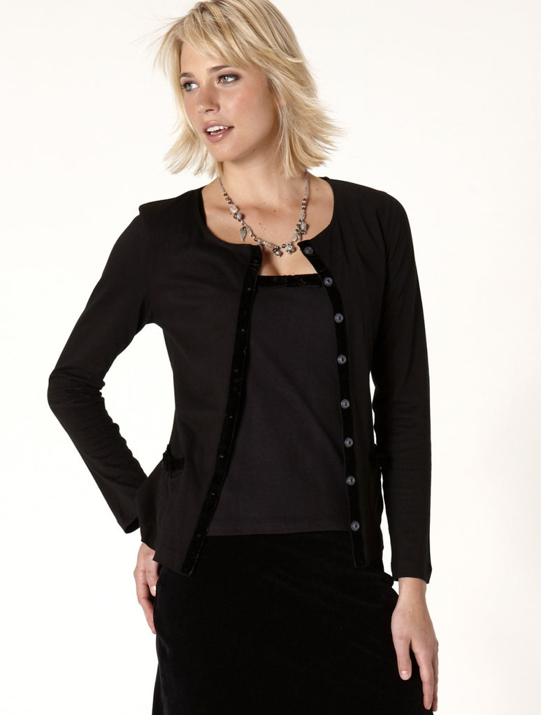 Cotton & Velvet Cardigan-Black