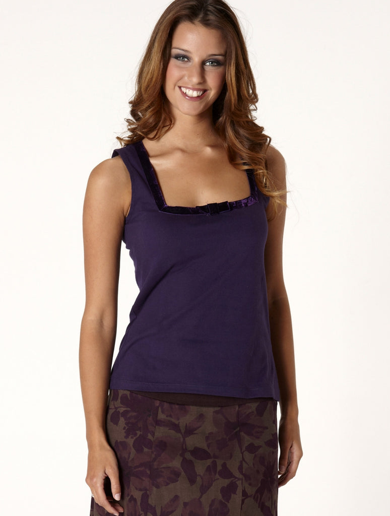 Cotton & Velvet Top-Purple