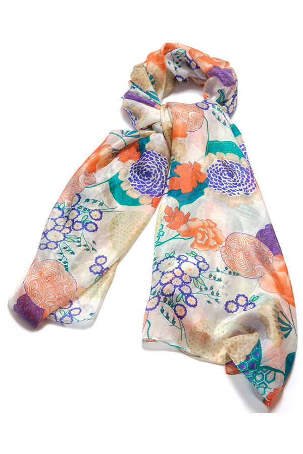 'Tropical' Pure Silk Scarf