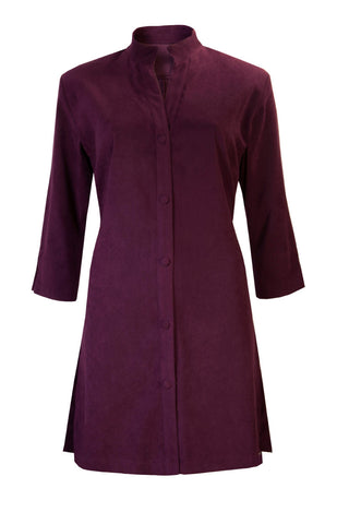 Washable Faux Suede Lightweight Coat - Plum