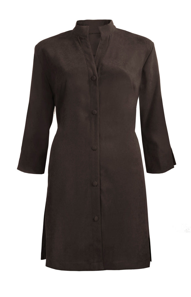 Washable Faux Suede Lightweight Coat - Chocolate