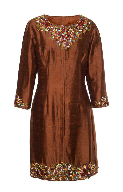 Silk Embroidered Coat-Chocolate