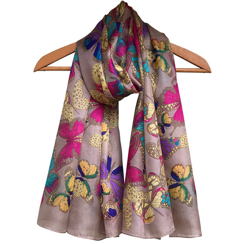 **NEW** 'Beautiful Butterflies - Caramel' Pure Silk Scarf