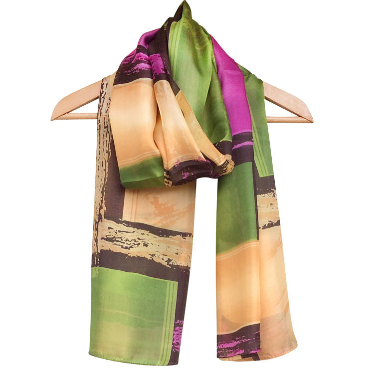 'Geometric - Green' Pure Silk Scarf