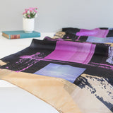 'Geometric - Purple' Pure Silk Scarf