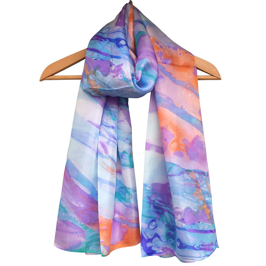 'Marble Print' Pure Silk Scarf