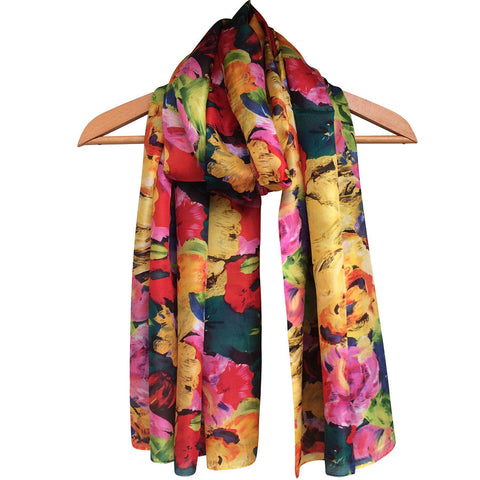 **NEW** 'Orange Flowers' Pure Silk Scarf