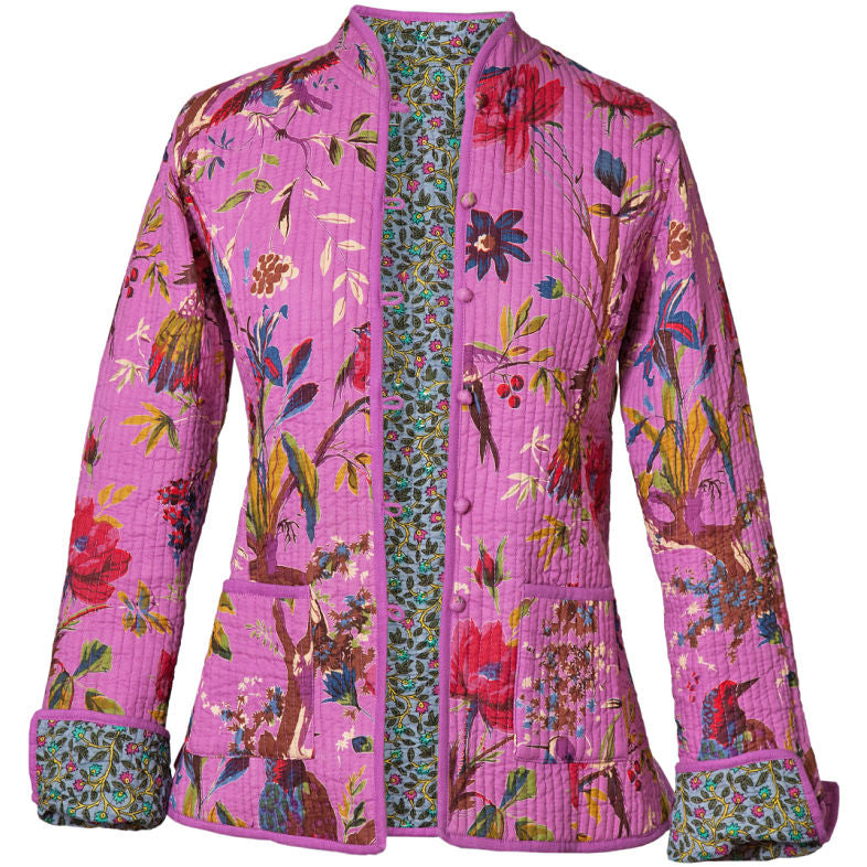 Reversible 'Bird of Paradise' Cotton Jacket - Magenta