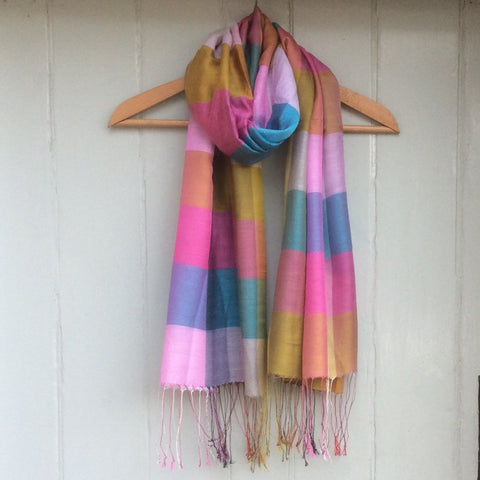 Silk Mix Block Scarf