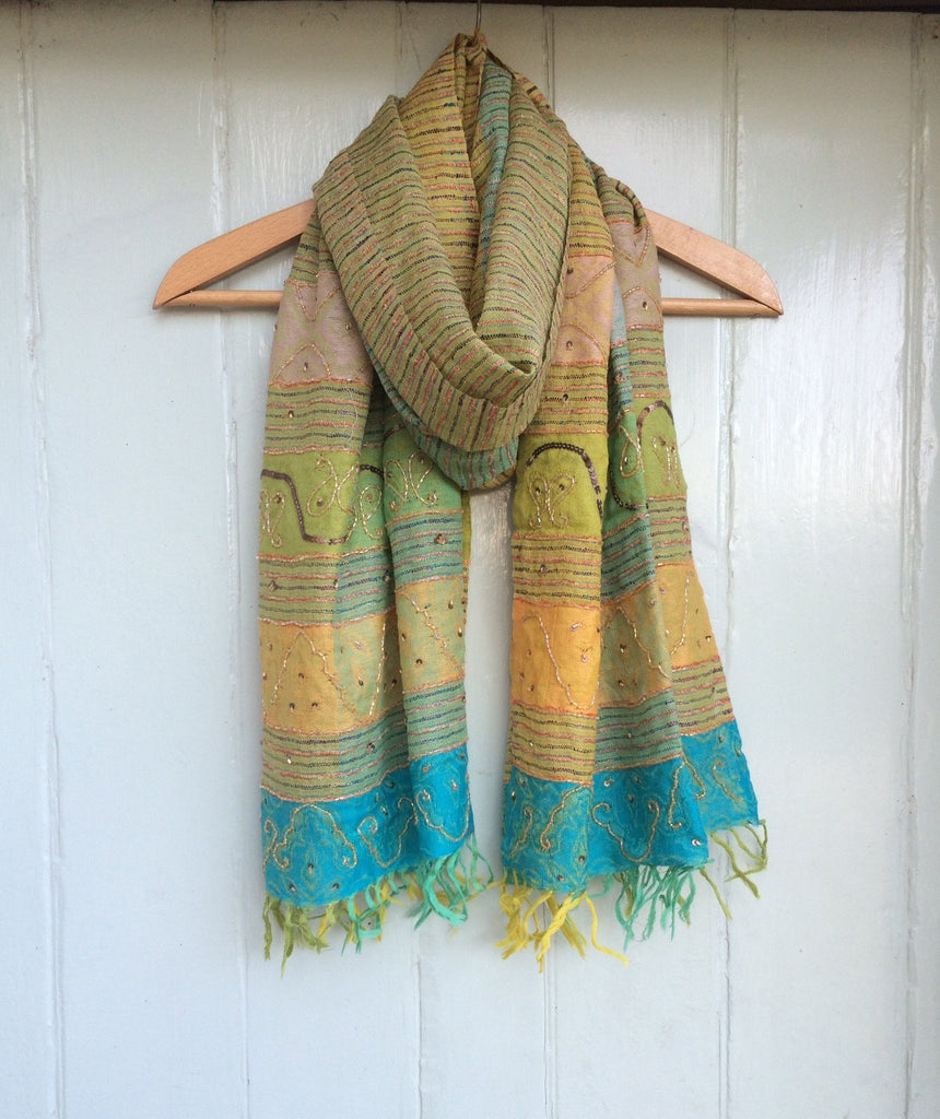 Embroidered Wool Scarf