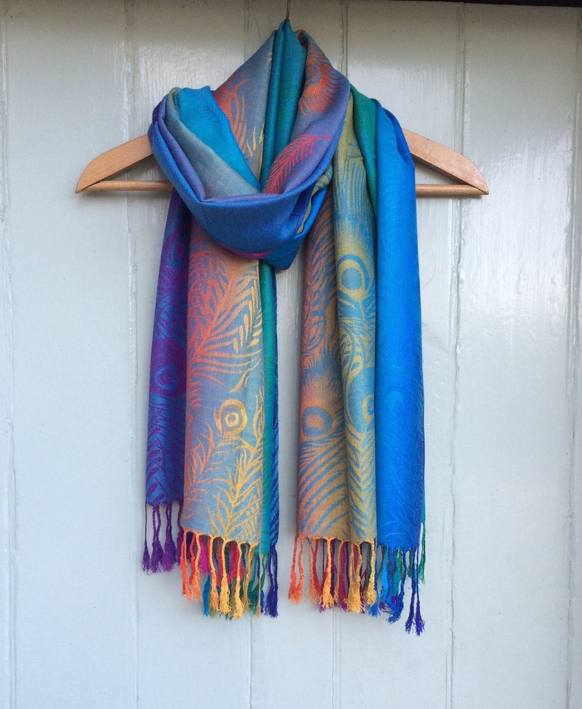 Reversible 'Feathers' Pashmina Scarf