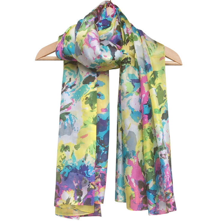 'Pink Lime' Pure Silk Scarf