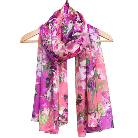 'Pink Melody' Pure Silk Scarf