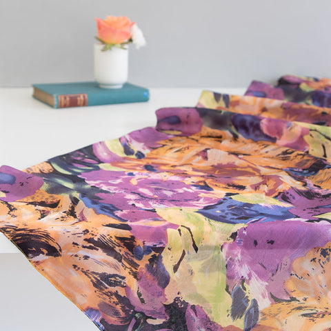 'Purple Flowers' Pure Silk Scarf