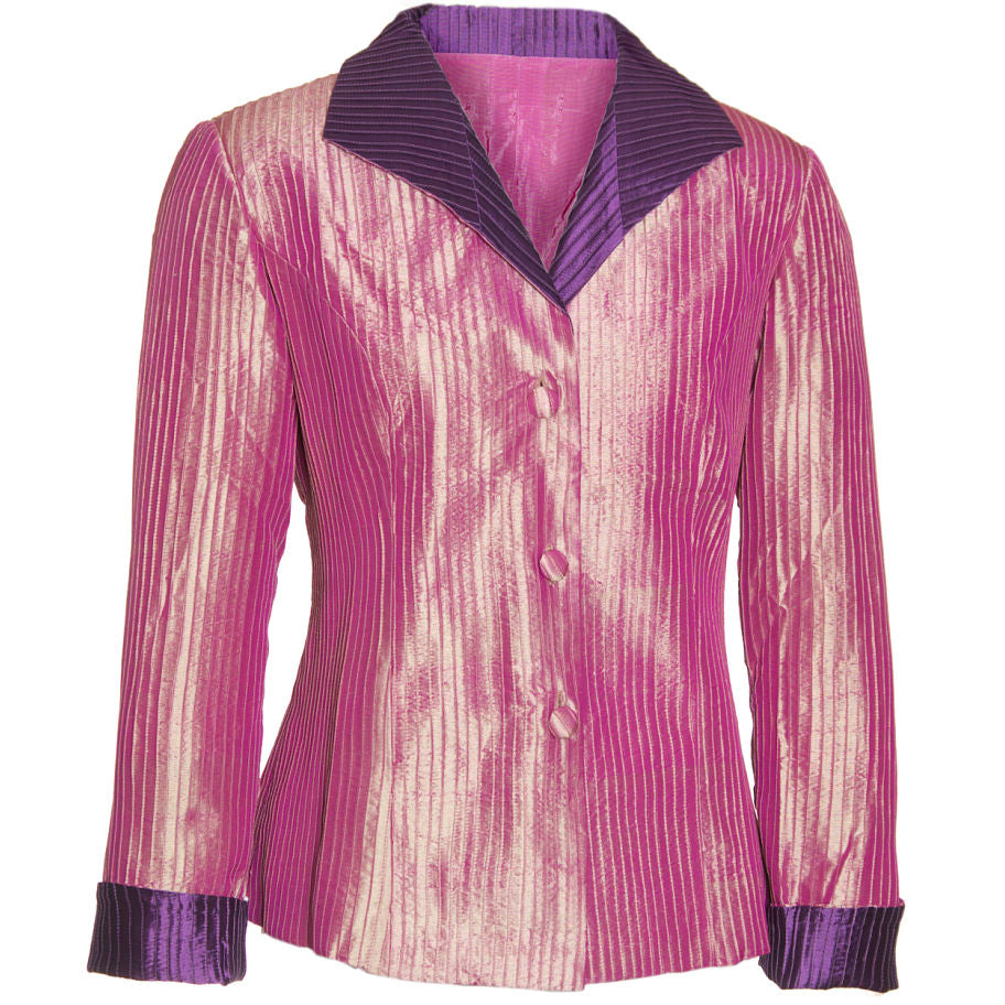 Pintuck Taffeta Jacket - Pink & Purple