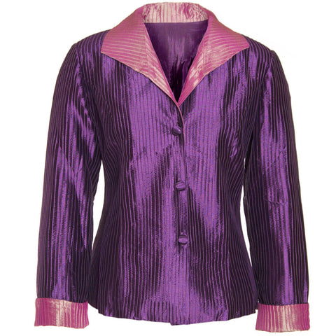 Pintuck Taffeta Jacket - Purple & Pink