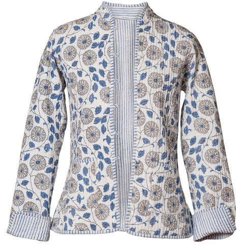 Reversible 'Cornflowers & Stripes' Cotton Jacket