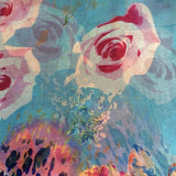 'Vintage Rose - Blue' Pure Silk Scarf
