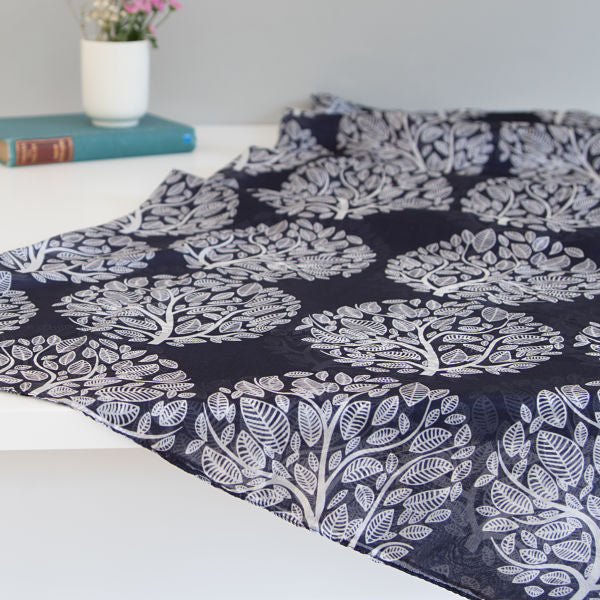 'Tree of Life - Ink Blue' Pure Silk Scarf