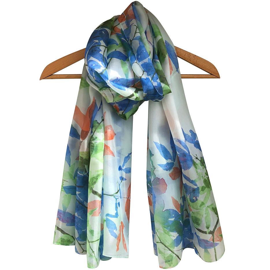 'Watercolour Leaves' Pure Silk Scarf