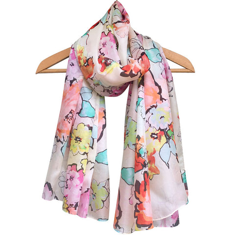 'Watercolour Florals - Ivory' Pure Silk Scarf