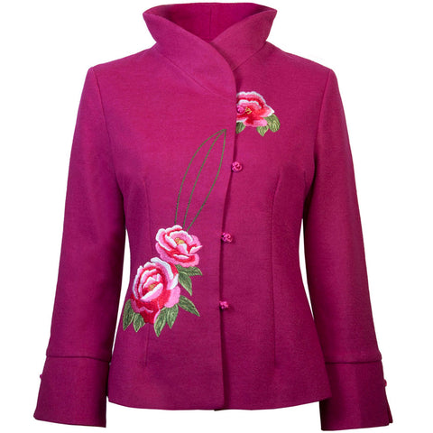 Embroidered Wool Jacket - Cyclamen Pink