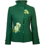 Embroidered Wool Jacket -  Moss Green