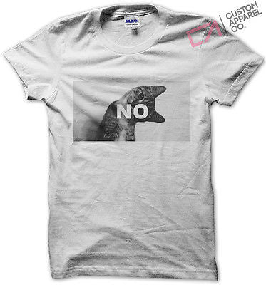 20ae0425 NO CAT FUNNY TUMBLR T SHIRT MENS WOMENS KIDS FELINE MEME MEOW HIPSTER TOP  NEW