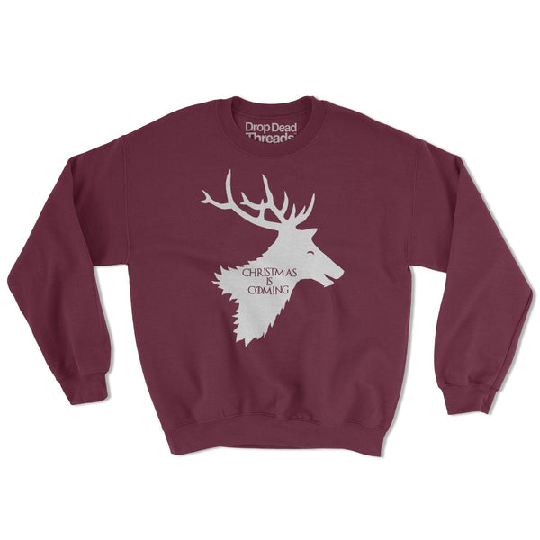 6b010dd51545 Christmas Is Coming Game Of Thrones Parody House Stark Funny Xmas Jumper  Sweater