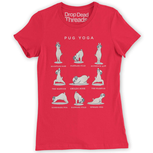 01c0c7a6f339 Pug Yoga Women s Fitted Funny Exercise Gym T-Shirt New S - XXL Ideal For