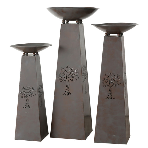 Firebowls on Plinth - Set of 3 - Charcoal