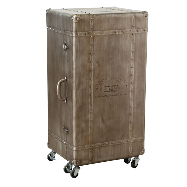 Wine Bar & Rack in Metal Trunk