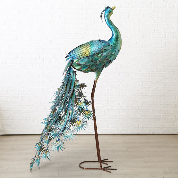 Tall Metal Peacock Sculpture